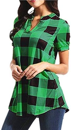 Women Plus Size Short Sleeve Casual Plaid Blouse V-Neck Loose Shirt Top Costume