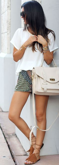 The Material Girl Lace Up Flat Sandals White Blouse Printed Shorts Teen Fall Inspo