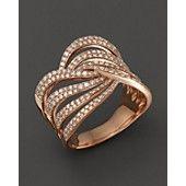 Diamond Multirow Twist Ring in 14K Rose Gold, .70 ct. t.w.