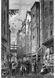 An poster sized print, approx (other products available) - Shops in Field Lane, London, circa (Photo by Hulton Archive/Getty Images) - Image supplied by Fine Art Storehouse - Poster printed in Australia Victorian London, Vintage London, London History, British History, Tudor History, Old London, East London, 19th Century London, London Drawing