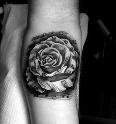 Rose Flower Music Note Mens Leg Calf Tattoo Designs
