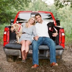 engagement picture with john's truck and rucker!