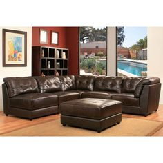 Erica 6-piece Top Grain Leather Modular Sectional - Brown Item #990163 Features: Top Grain Leather, Brown, 2 Corner Chairs, 3 Armless Chairs and 1 Ottoman, by Abbyson Living®