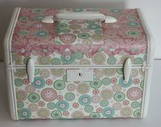 Decoupaged Train Case (Back) Vintage Suitcases, Vintage Luggage, Painted Suitcase, Best Spray Paint, Decoupage, Vintage Train Case, Suitcase Storage, Steamer Trunk, Mothers Day Crafts