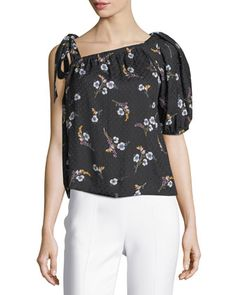 Natalie+Floral-Print+One-Shoulder+Top+by+Rebecca+Taylor+at+Neiman+Marcus.