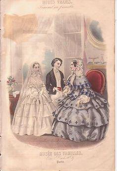 1855 French Fashion Print First Communion Girl Lady Boy Bonnet Hand Colored | eBay