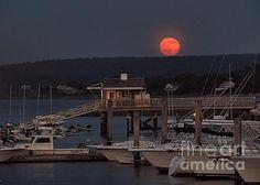 Super moon over the harbor in Plymouth, Massachusetts on June 23, 2013.