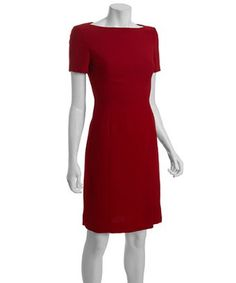 Tahari ASL dark cherry crepe short sleeve boatneck 'Vinny' dress