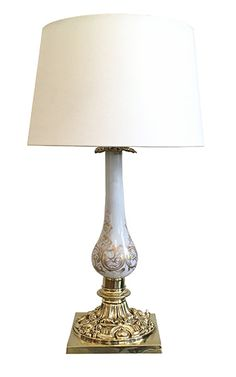 A Victorian Porcelain and Brass Table Lamp - Jorgensen Gallery Brass Table Lamps, Brass Lamp, Antique Furniture, Glass Vase, Porcelain, Victorian, Antiques, Gallery, Home Decor