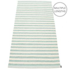 Strike bold with Pappelina's turquoise and vanilla striped Duo rug and add a pop of colour to your room.  The 85 cm wide Pappelina Duo is uniquely woven using an exceptional number of warp threads and comes in two practical lengths.  Pappelina rugs are fantastic for areas with heavy foot traffic. They are woven from soft plastic using traditional Swedish techniques, they are fully reversible and washable, although a quick vacuum is all they will need to keep them looking good as new.