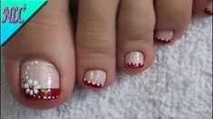 Toenail Art Designs, Pedicure Designs, Pedicure Nail Art, Toe Nail Color, Toe Nail Art, Nail Colors, Cute Toe Nails, Pretty Nails, Nail Art Pieds