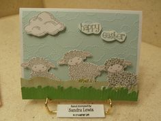 "I used the ""Easter Lamb"", wood mount stamp, item # 140740 from the 2016 Stampin' Up Occasions catalog, to make this fun Easter greeting card."