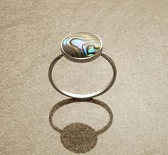 Abalone Stacking Ring - Sterling Silver - Paua Shell - Round Ring | KRAMIKE - Jewelry on ArtFire