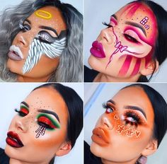 25 beauty and makeup hacks you didnt know you needed! Makeup Eye Looks, Eye Makeup Art, Colorful Eye Makeup, Crazy Makeup, Cute Makeup, Makeup Eyes, Amazing Halloween Makeup, Eye Makeup Designs, Creative Makeup Looks