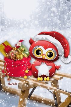 Santa's Helper animated snow owl christmas santa cute christmas christmas pics