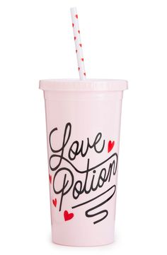 Sipping in style with this playfully printed tumbler that makes it easy to carry the fave drink on-the-go.