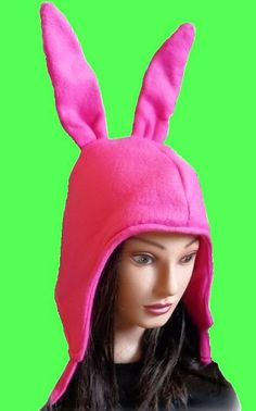 Louise - Cosplay Pink Bunny Ears Hat Fleece by LittleRedHensCorner on Etsy