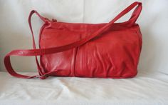 Pre-Owned Red Leather Shoulder Bag*******. by RamsesTreasure on Etsy