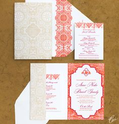 Ceci Couture wedding invitation. // Exotically-embellished pattern of mixed bright pinks and oranges with a beige that alluded to the sandy backdrop. // Fun crest for the couple at the top.