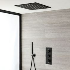 Milano Nero - Black Thermostatic Shower with Diverter, Recessed Shower Head, Hand Shower and Body Jets Outlet) Bathroom Shop, Big Bathrooms, Modern Bathroom, Bathroom Ideas, Contemporary Bathrooms, Bathroom Vanities, Bath Ideas, Mixer Shower, Shower Set