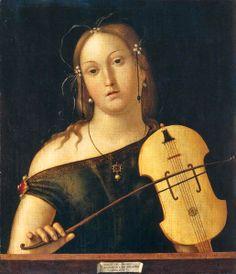 Andrea Solario (Italian Renaissance painter, active 1495-1524)  -  Woman Playing the Viola