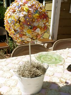 Cute as a Button Vintage Shower Topiary Centerpiece,