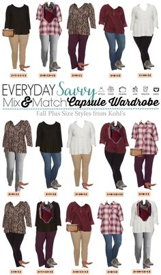 Check out these super cute fall plus size outfits from Kohls. The pieces mix and match for 15 outfits that make a mini capsule wardrobe.  via @everydaysavvy