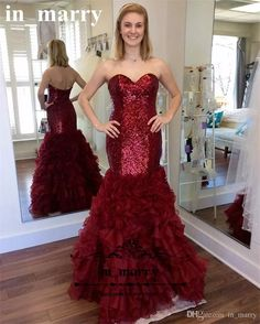 Dark Red Sequined Mermaid Prom 2K17 Dresses Plus Size Tiered Organza Skirt African Arabic Girls Cheap Formal Graduation Evening Party Gowns MermaidProm Dresses Dresses Party Evening Long Prom Dresses Online with $224.0/Piece on In_marry's Store | DHgate.com