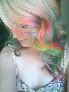 Rainbow bright hair! #beauty #color
