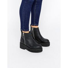 ASOS ACHEM Chunky Zip Boots (€44) ❤ liked on Polyvore featuring shoes, boots, pointed toe shoes, synthetic shoes, chunky shoes, zipper boots and zip boots