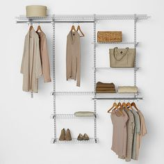 Unclutter any closet with the Rubbermaid to Deluxe Closet Organizer Kit. This easy-to-configure and adjustable wire organizer kit features hanging space, shelf space, and fits a closet from wide to let you enjoy an organized lifestyle.