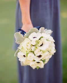 bridesmaids' arrangements included hydrangeas, anemones, garden roses, and lamb's ears.