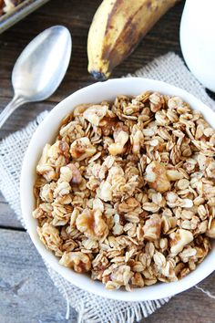 Banana Granola Recipe on twopeasandtheirpod.com This easy granola tastes just like banana bread! It is a favorite at our house!