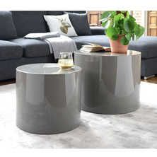 Circular gloss stacking side tables stone and white
