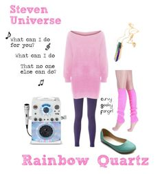 """Steven Universe: Rainbow Quartz"" by curvygeekyfangirl ❤ liked on Polyvore featuring Ollio"