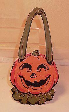 Vintage Halloween Ephemera ~ Dennison Door Knob Jack O' Lantern Hanger