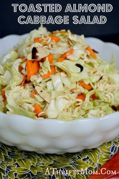 Toasted almond and cabbage salad, healthy salad recipes quick and easy - add chicken and cilantro - Chinese chicken salad - I make it for parties and it is gone... toasted almond cabbage salad, healthy salad recipes, healthy salads, chicken salads, healthi salad, tuna salad, cabbag salad, salads recipes for parties, toast almond