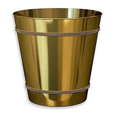 Beaded Metallic Wastebasket in Champagne Gold (1, Gold) B...