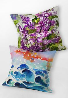 These scenic paintings look awesome printed on throw pillows - an easy and inexpensive way to bring high-quality fine art into your home! Click through the pin to see all of Ginette Fine Art's work