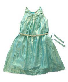 Look what I found on #zulily! Sea Foam Shimmer A-Line Dress - Toddler & Girls #zulilyfinds