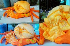 """Dungeness Crab"" by Mike C., Eureka, CA. The body is made from an Atlantic Giant pumpkin and the legs are made from a Long of Naples pumpkin."