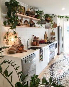 12 Beautiful Bohemian Style Kitchen Decoration Ideas ~ My Dream Home Küchen Design, House Design, Design Ideas, Garden Design, Sweet Home, Kitchen Styling, Interior Design Kitchen, Interior Modern, Interior Design Plants