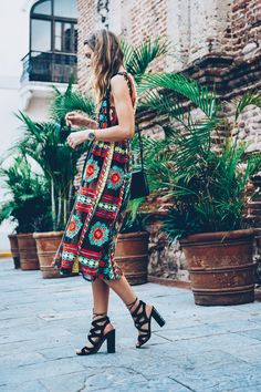 Embroidered Midi Dress and Lace Up Heels | Jess Ann Kirby