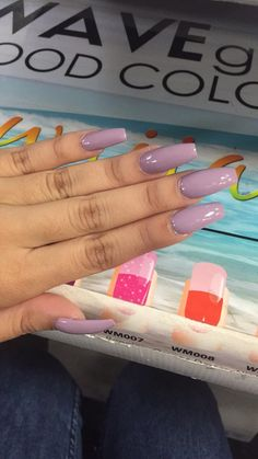 Light Purple Long Coffin Shape Acrylic Nails