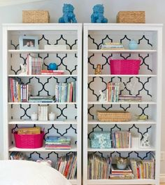Unique and Inexpensive Apartment Decorating Ideas : Cover the back of a bookcase with wallpaper