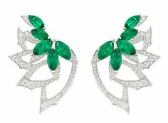 White Gold (White rhodium plated) earrings set with pave White Diamond and marquise shape Emeralds. Emerald Earrings, Emerald Jewelry, Gemstone Earrings, Antic Jewellery, Weird Jewelry, Titanic Jewelry, Stephen Webster, Necklace Online, Diamond Are A Girls Best Friend