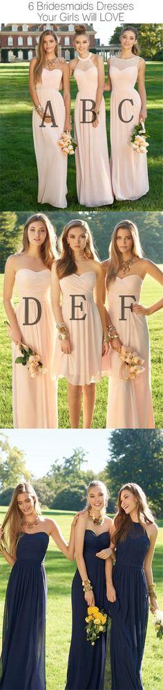 2017 Chiffon Mismatched Blush Pink Modern Formal Floor-Length Cheap Bridesmaid Dresses, WG103