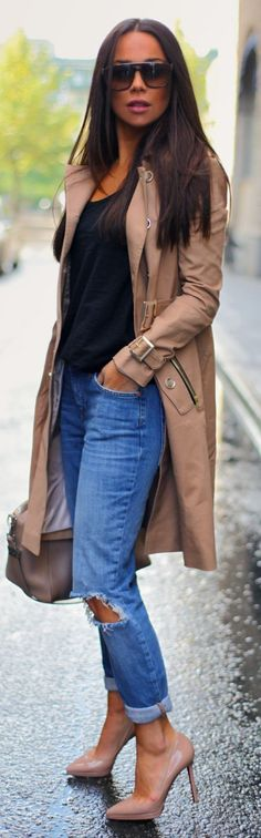 Camel Double Breasted Button Mac Trench