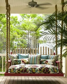 Forget the porch swing, how about a porch bed or a porch loveseat. I've always wanted a porch swing.now I want a porch this! Decor, Bed Swing, House, Home, Outdoor Spaces, House With Porch, Outside Living, Porch Decorating, Porch Swing