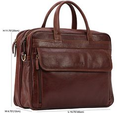Banuce Men's Full Grains Leather Multifuction Professional Briefcase